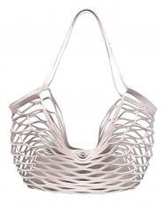 Leder Netz Tasche aus Lederriemen Einkaufsnetz in rosa und grau reversibel #Tasche