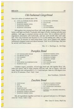 A Taste of Homecoming Traditional Cooking from the Heartland of the South, 1989 - Old Fashioned Gingerbread, Pumpkin Bread, Zucchini. Retro Recipes, Old Recipes, Vintage Recipes, Pumpkin Recipes, Baking Recipes, Cake Recipes, Dessert Recipes, Baking Substitutions, Blender Recipes