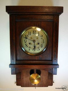 Antique German Mauthe Wall Clock 1910 1930 Junghans