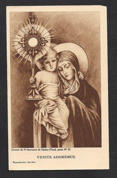 O Come Let Us Adore Him Antique Holy Card by Divinegiftshop, $15.00