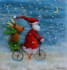 Велосипедная служба доставки. Картина из шерсти. Наталия Шариф.