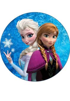 Elsa and Anna - Frozen Round Button Frozen Movie, Elsa Frozen, Disney Frozen, Disney Princess Cupcakes, Princess Cake Toppers, Frozen Cupcake Toppers, Frozen Cake Topper, Frozen Images, Frozen Pictures