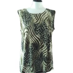 "2X 3X Sleeveless Top Green Safari Print Plus Size 2X 3X Sleeveless Top Scoop Neck Safari Print Plus Size Green Black by A Touch Of Class 44"" Bust 24"" Length Side Slits Polyester Spandex Blend EUC Trades A Touch of Class Tops Tunics"