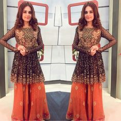 Sumbul Iqbal Khan Of Eid Transmission For Hum TV Wearing by Dolled up by Jewelry ✨ Pakistani Party Wear, Pakistani Wedding Outfits, Pakistani Couture, Pakistani Bridal, Pakistani Dresses, Indian Dresses, Indian Outfits, Ethnic Outfits, Punjabi Wedding