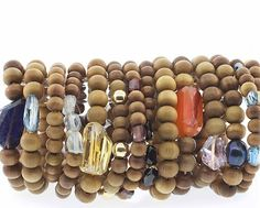 Our Sandalwood Bracelets in variety of gemstone size, from Petite Rocks to Rockstar. Made with real Sandalwood beads blessed by Buddhist monks in Nepal.