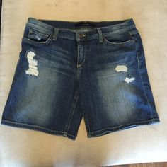 Joe's jean shorts Medium wash Joe's Jean shorts. The length is just above the knee on me and I am 5'1. Can be rolled up or left unrolled as pictured. Great condition, only wore a few times! Joe's Jeans Shorts Jean Shorts