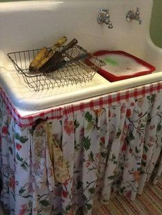 Remember sink aprons...before sink cabinets were affordable and/or popular?