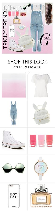 """Untitled #2"" by yasminaahmae ❤ liked on Polyvore featuring Visvim, Paige Denim, cutekawaii, Converse, Nails Inc., Revo, Christian Dior, TrickyTrend and overalls"