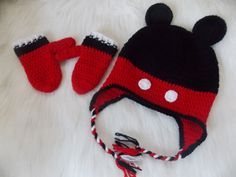 Mickey Mouse hat and Mittens set-Available in Any Size or Color Combination-Mickey mouse hat-Mickey mouse mittens Mickey Mouse Hat, Unique Crochet, Mittens, Color Combinations, Baby Shower Gifts, Crochet Patterns, Winter Hats, Etsy Seller, Crochet Hats