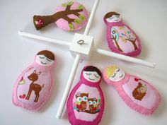 Woodland Matryoshka Baby Mobile   Cot Mobile in by MaisieMooNZ, $75.00