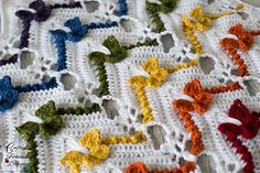 Rainbow Butterfly Chevron Afghan #crochet #pattern by Crafting Friends Designs