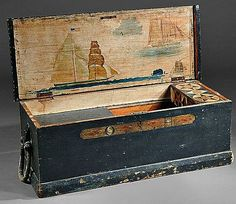 Painted Pine Seaman's Chest, New England, early century Painted Chest, Painted Boxes, Sea Captain, Trunks And Chests, Blanket Chest, Primitive Antiques, Early American, American Flag, Coastal Decor