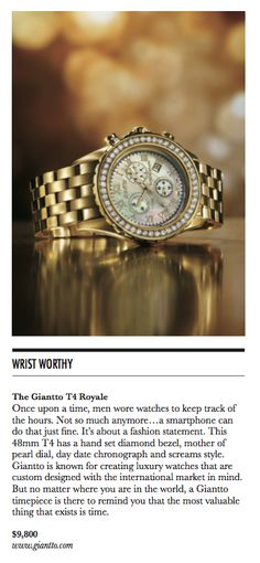 Wrist Worthy / The Giantto T4 Royale / Beverly Hills Lifestyle Magazine / Fall 2013