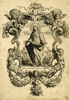 Vas Insigne DevotionisA 17th century print by Theodorus Galle of Mary as the Singular Vessel of Devotion, one of her titles from the Litany of Loreto.