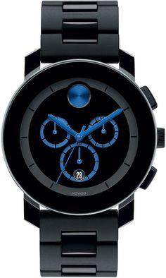 Movado Bold 43.5mm Bold Chronograph Watch, Black/Blue