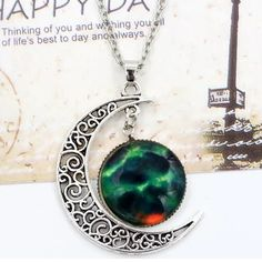 Crescent Moon Galaxy Necklace. Nwt