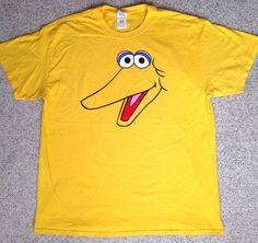 Adult(XL) BIG BIRD FACE T-SHIRT Yellow Cotton Halloween Costume Sesame Street #SesameStreet #GraphicTee