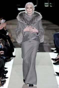 Carmen(80)modelling for Alberta Ferretti in Florence Jan 2011