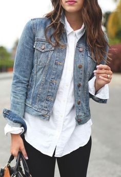Dress up your classic denim jacket with a white button-up shirt. Pair the combo - Shirt Casuals - Ideas of Shirt Casual - Dress up your classic denim jacket with a white button-up shirt. Pair the combo with a red lip for a sassy date-night look. Mode Outfits, Jean Outfits, Winter Outfits, Casual Outfits, Fashion Outfits, Womens Fashion, Fashion Ideas, Dress Winter, Summer Outfits