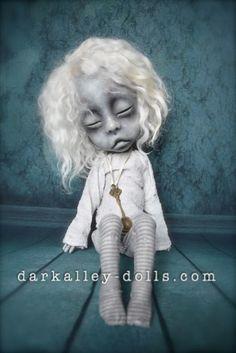 Gothic BJD Art Doll Sleepy Child Tanya by Dark Alley Dolls.