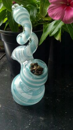 Blue Swirl Bubbler