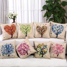 Love Tree Cushion Modern Style Colourful Heart Plant Printed Linen Cojines For Sofa Furniture & Home Decoration(China (Mainland))