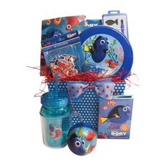 Finding Dory Memory Game  Finding Dory Card Games  Finding Dory Water Colors  Finding Dory Chalk Set  Finding Dory Flying Disc  Finding Dory Bounce Ball  Finding Dory Stickers and Tattoos  Colorful Polk a dot basket 9x7x7