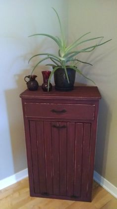 Large Trash Bin Cabinet With Drawer Laundry Hamper Recycling Root Vegetable Storage Hideaway