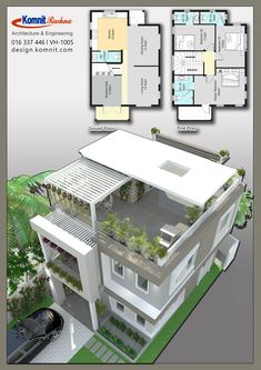 Discover thousands of images about VH 1005 Komnit Rachna Houses - Komnit Design 2 Storey House Design, Duplex House Design, Duplex House Plans, House Front Design, Bedroom House Plans, Small House Design, Dream House Plans, Small House Plans, Modern House Design
