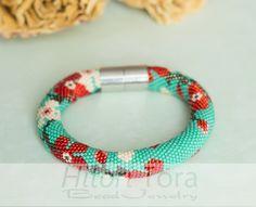 PDF Pattern for beaded crochet bracelet   Seed beads crochet
