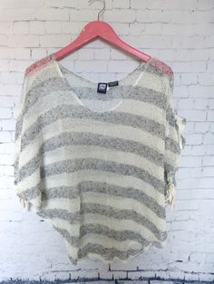 Rusty White Gray Crochet Dolman Batwing Drawstring Cover Up Knit Top Size M  #Rusty #KnitTop #Casual