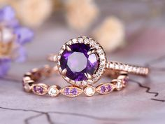 Round Cut Amethyst Engagement Ring Set, Marquise Dianond Wedding Band, Rose Gold, Anniversary r Art Deco Jewelry, Jewelry Gifts, Fine Jewelry, 14 Carat, Art Nouveau, Or Rose, Rose Gold, Engagement Ring Settings, Amethyst Engagement Rings