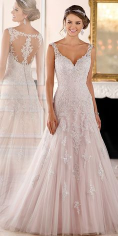 Elegant Tulle V-neck Neckline A-line Wedding Dresses With Beaded Lace  Appliques Wedding 81bf73397f3d