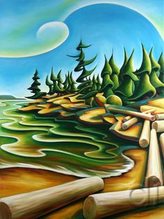 Picadilly Cove 30 x 40 2007 oil on canvas Pintura Country, Canadian Art, American Indian Art, Naive Art, Tree Art, Landscape Art, Painting Inspiration, Painting & Drawing, Amazing Art