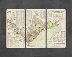 """Vintage Constantinople Istanbul METAL Map Triptych 36x24"""" FREE SHIPPING by ArtHouseGraffiti on Etsy"""