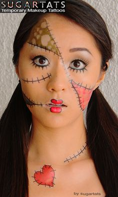 Rag Doll set of temporary tattoos that are makeup aids to create fantasy makeup looks  $14.99  The Rag Doll tattoo set - the largest tattoo set on sugartats -- contains a large cheek pattern, mouth pattern, 3 stitches, stitched heart and forehead pattern tattoos. They are really fun!  They a...