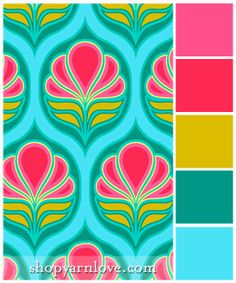 Art Deco Flowers color palette - bright bold pink, fuchsia, ochre paired with teal and aqua.