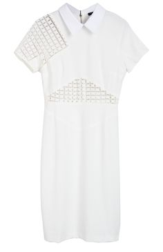 White Lapel Short Sleeve Back Zipper Hollow Dress