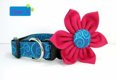 Swirl Blue and Turquoise Dog Collar with flower set ((Mini,X-Small,Small,Medium ,Large or X-Large Size)-  Adjustable