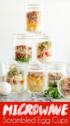 These Easy Microwave Scrambled Egg Cup Recipes are a great meal prep idea for a healthy breakfast that is hot and ready in just minutes! From All American Bacon & Cheese to Italian Chicken Sausage, there are 7 delicious varieties for a healthy breakfast o Healthy Breakfast On The Go, Healthy Breakfast Recipes, Healthy Drinks, Brunch Recipes, Healthy Snacks, Healthy Recipes, Nutrition Drinks, Healthy Breakfasts, Drink Recipes