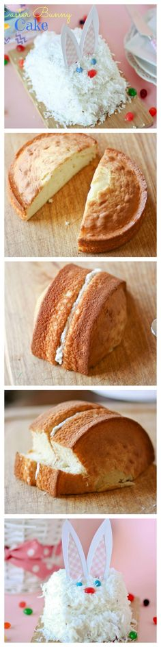 Directions for making a cute bunny cake for Easter!!  Only one round cake needed -- one cake mix makes TWO bunny cakes.  Super simple, even beginners can manage this cute cake.