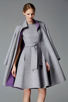 CH Carolina Herrera Fall 2016 grey wool coat and dress. Debuted Nov 2016