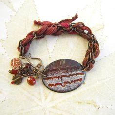 Enameled bracelet chain bracelet beaded brass by THEAjewellery, £25.00