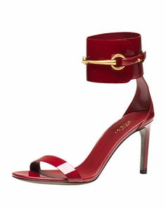 Ursula Patent Low-Heel Cage Sandal, Red by Gucci at Bergdorf Goodman.