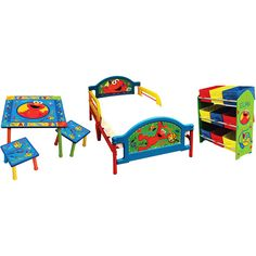 love this! they have the bed and a similar toy shelf for $74 at walmart  sc 1 st  Pinterest & This is an awesome hardwood Cookie Monster / Elmo Table And Chair ...