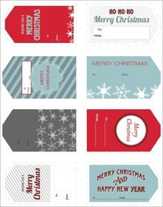 Free Christmas holiday printable gift tags. Visit the blog for many more!