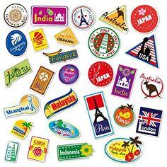 World Travel Locations Suitcase Stickers - 28 von Gepäck Aufkleber Labels Set
