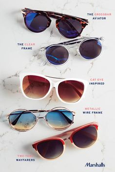 The new trends in spring shades! The crossbar aviator — a classic with a tortoise shell twist. The clear frame — a fun update that makes mirrored lenses pop. Cat-eye sunglasses — oversized style. The metallic wire frame — a more delicate silhouette. And color blocked wayfarers — classically bold. Visit Marshalls today and try out the new trends!