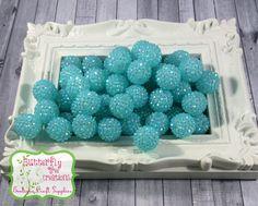 20mm Light Turquoise - Aqua - Chunky Acrylic Rhinestone bubblegum beads - Gumball beads - chunky necklace supply - UK SELLER