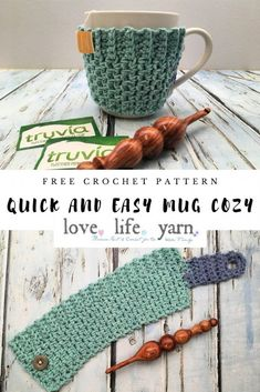 This is my absolute favorite mug cozy pattern! The texture is fantastic and I adore the ribbed top! Can easily be customized to fit any size mug. Free crochet pattern, too! Crochet Coffee Cozy, Crochet Cozy, Crochet Gifts, Free Crochet, Coffee Cup Cozy, Holiday Crochet, Tunisian Crochet, Coffee Coffee, Crochet Granny